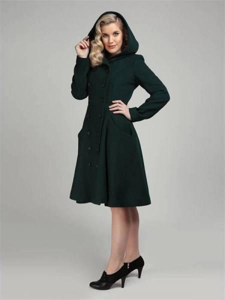 Collectif Mantel Heather Hooded Swing Coat grün