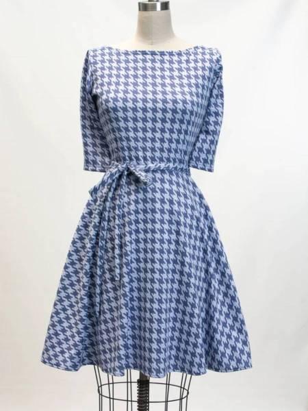Heart of Haute Kleid Josephina Blue Houndstooth