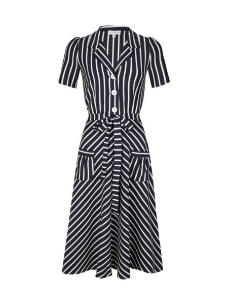 Very Cherry Kleid Revers Dress Midi Navy White Stripes