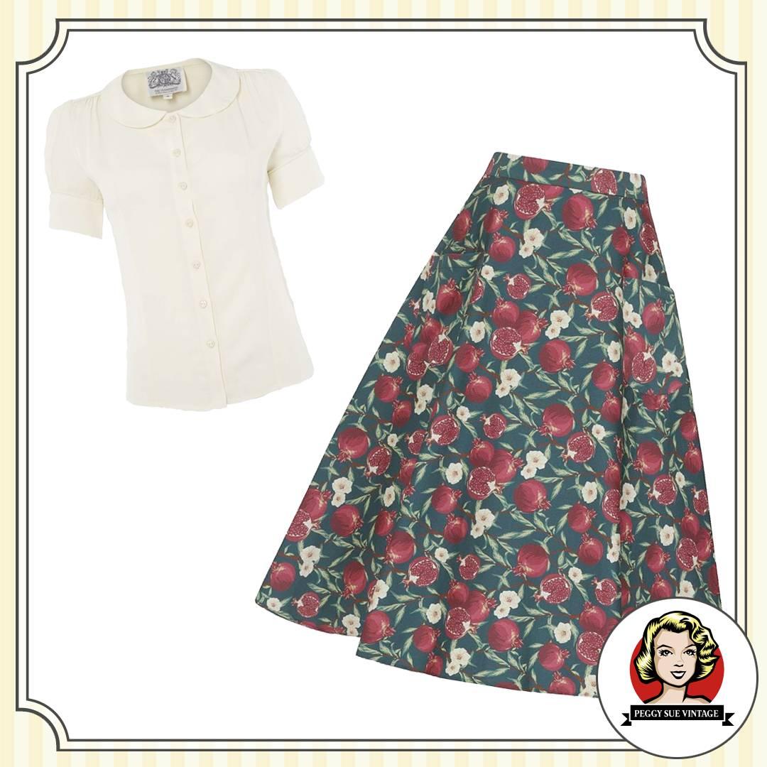 Tellerrock im 50er Jahre Stil mit passender Vintage-Bluse