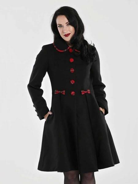 Hell Bunny Mantel Tiddlywinks Coat schwarz mit Schottenkaro