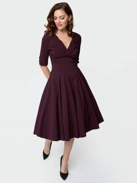 Unique Vintage Kleid Delores Swing Dress aubergine