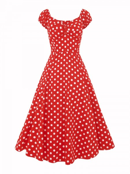 Collectif Kleid Dolores Doll Dress Polka rot-weiß