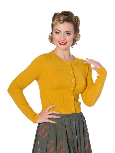 Banned Dolly Cardigan mustard senfgelb