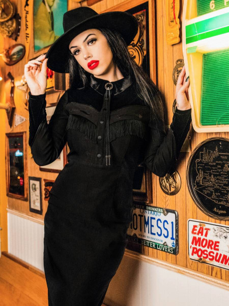 Katakomb Westernkleid Loretta Pencil Dress schwarz