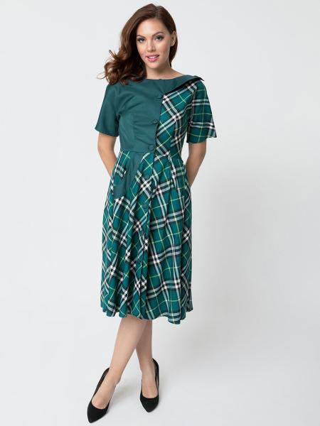 Unique Vintage Kleid Erwina grün kariert