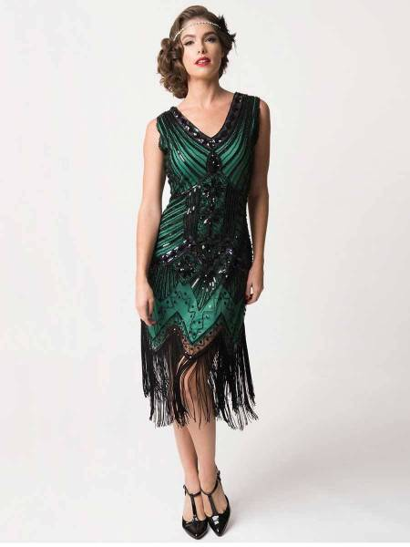 Unique Vintage 20er Jahre Fransen Kleid Veronique grün