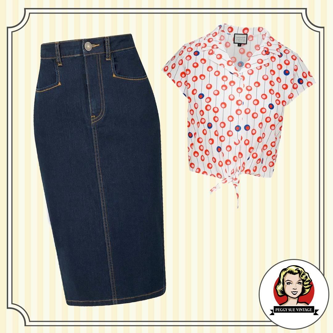 Jeans Pencilrock mit Knotenbluse im Rockabilly Style