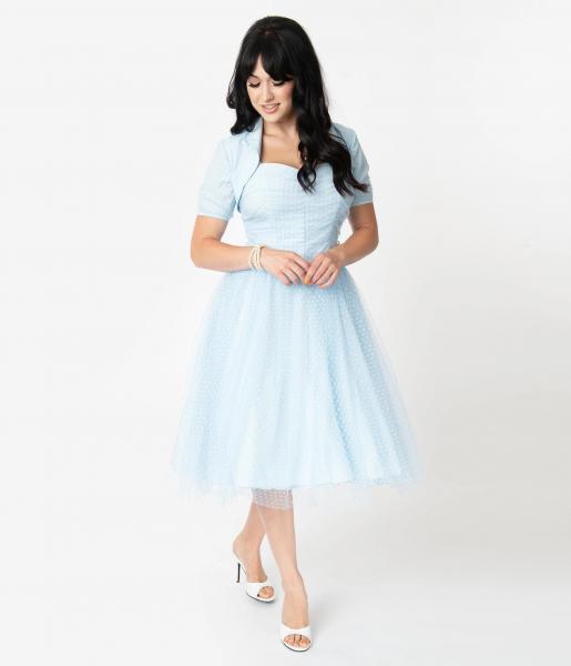 Unique Vintage Kleid I Love Lucy Honeymoon Swing Dress hellblau