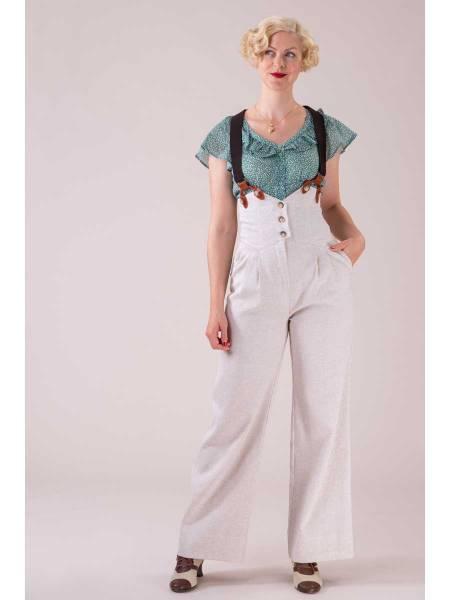 Emmy Hose Miss Fancy Pants Cream Herringbone Linen