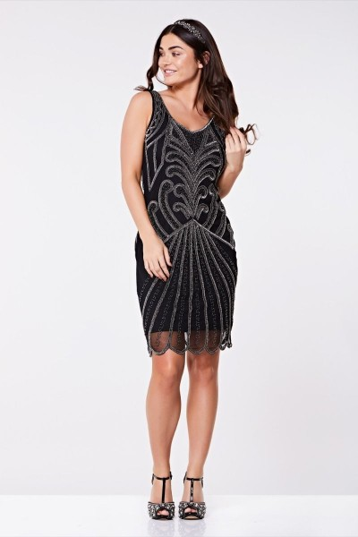 Gatsbylady 20er Jahre Kleid Francesca schwarz silber