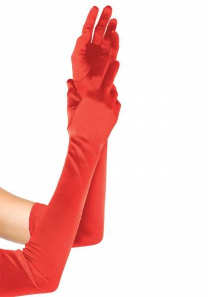 Satinhandschuhe extra lang rot