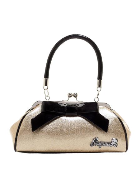 Sourpuss Handtasche Floozy Purse Glitter Gold
