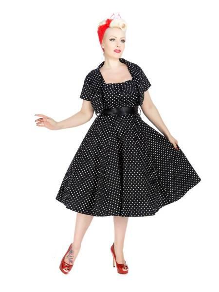 Hearts and Roses Petticoatkleid mit Bolero schwarz weiß Polka