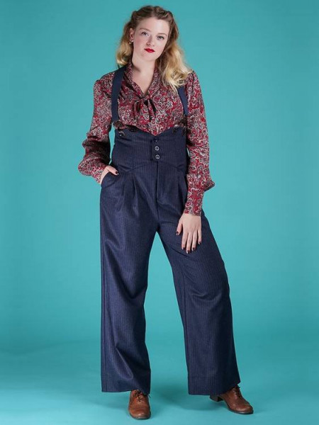 Emmy Hose Miss Fancy Pants Navy Pinstripe Tweed
