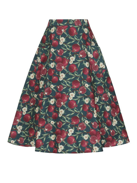 Collectif Rock Silvia Pomegranate Swing Skirt