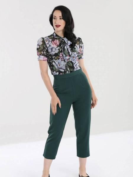 Hell Bunny Hose Carlie Cigarette Trousers dunkelgrün