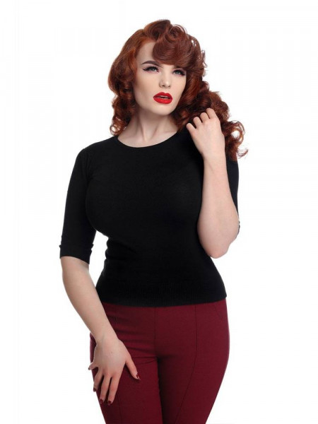Collectif Stricktop Chrissie Plain Knitted Top Black