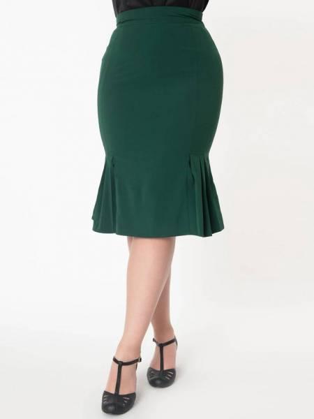 Unique Vintage Rock Mina Trumpet Skirt smaragdgrün