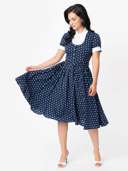 Unique Vintage Kleid I Love Lucy Ricardo Swing Dress dunkelblau