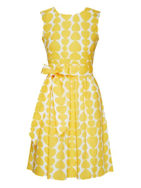 Mademoiselle Yéyé Kleid Non Stop Dancing Dress Heartbeat Yellow