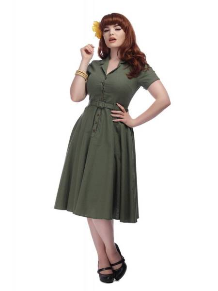 Collectif Kleid Caterina Swing Dress oliv