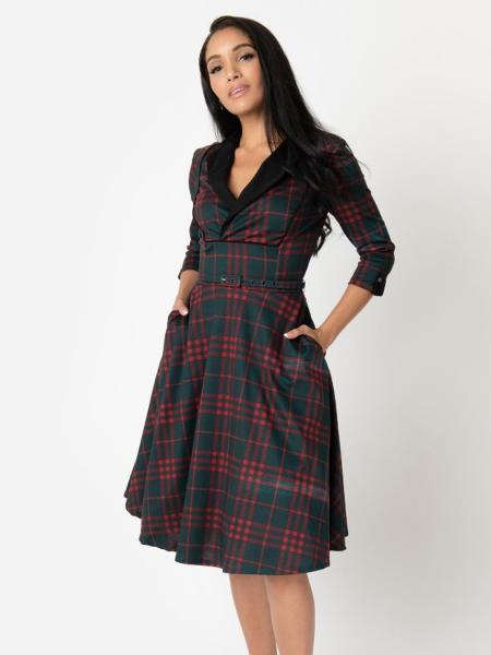 Unique Vintage Kleid Trudy Swing Dress kariert