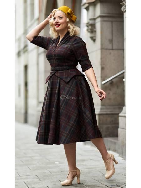 Miss Candyfloss Kleid Modesty Bo Tartan weinrot