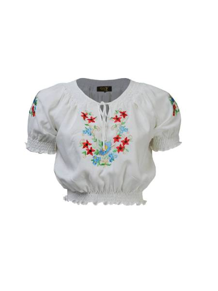 House of Foxy Bluse Peasant Blouse Ivory Multi