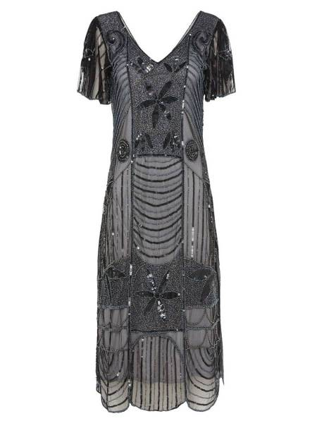 Gatsbylady 20er Jahre Kleid Daisy schwarz silber
