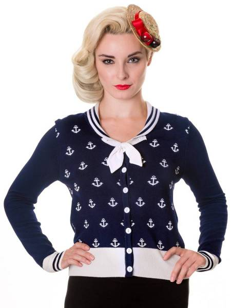 Banned Cardigan Small Anchors Anker dunkelblau