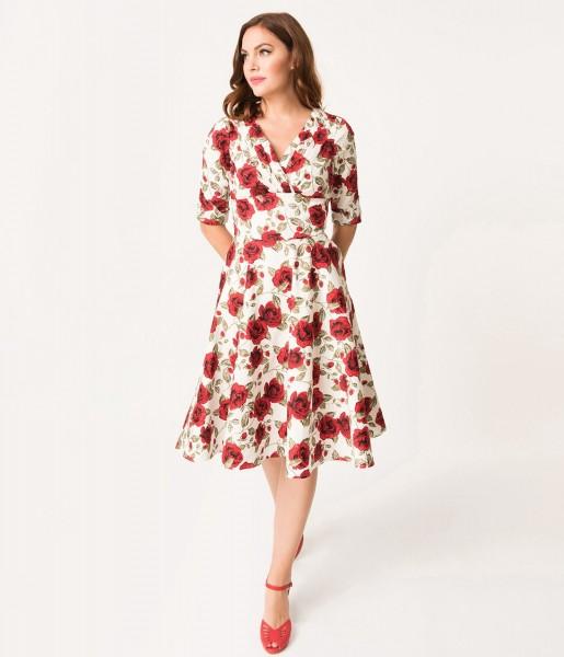 Unique Vintage Kleid Delores White Red Roses