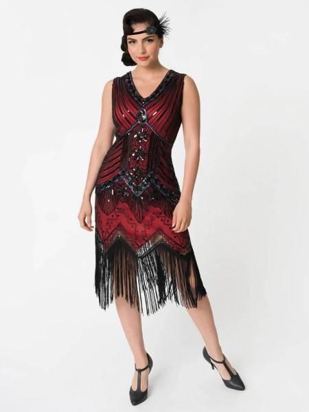 Unique Vintage 20er Jahre Fransen Kleid Veronique rot