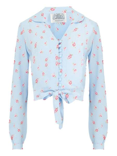 Seamstress of Bloomsbury Bluse Clarice Powder Blue Rose