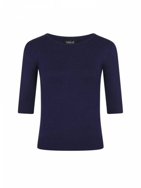 Collectif Stricktop Chrissie Plain Knitted Top Navy