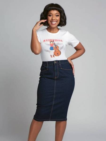 Collectif Jeansrock Angela Denim Pencil Skirt