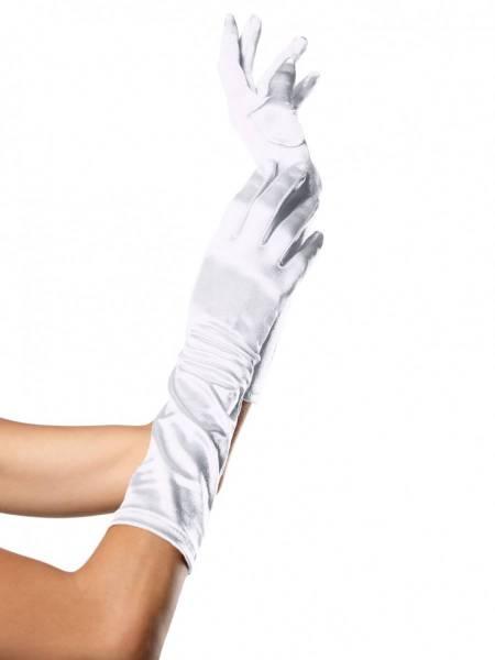 Satinhandschuhe lang weiß