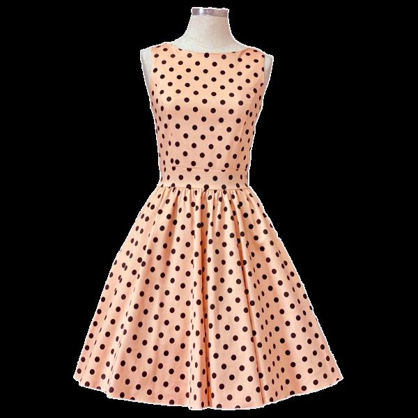 Lady V London Kleid Tea Dress Alsean Polka Dot apricot
