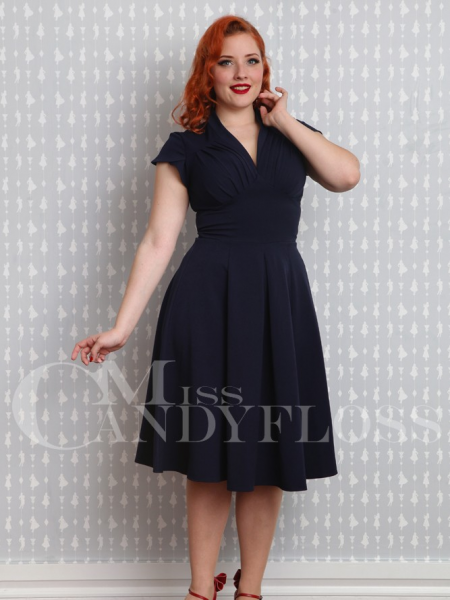 Miss Candyfloss Kleid Claudette-Lee Navy dunkelblau