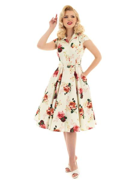 Hearts and Roses Kleid Delilah Swing Dress creme
