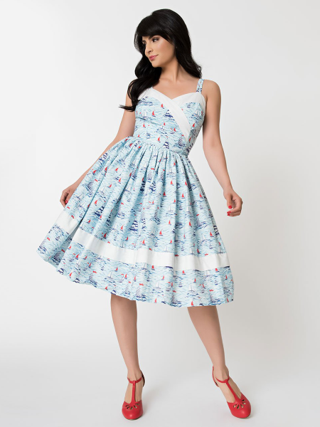 Unique Vintage Kleid Darienne Sailboat Print