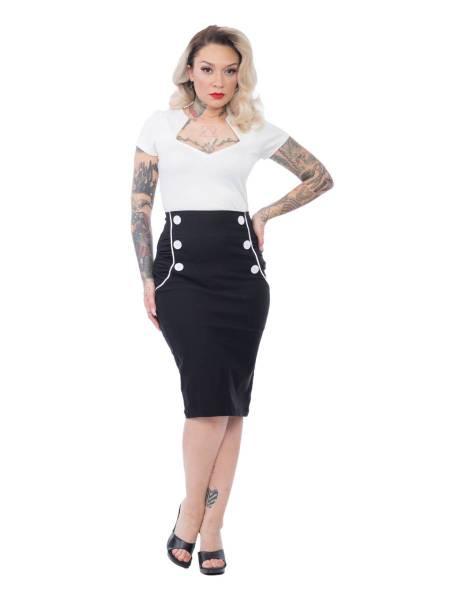 Steady Clothing Pencilskirt Vivian Wiggle Skirt schwarz weiß