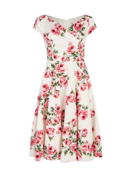The Pretty Dress Company Hourglass Swing Dress Vintage Rose