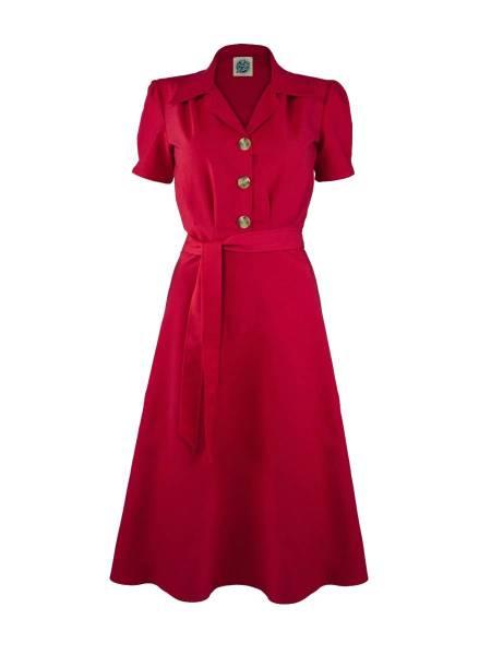 Pretty Retro Kleid 1940s Shirt Dress rot