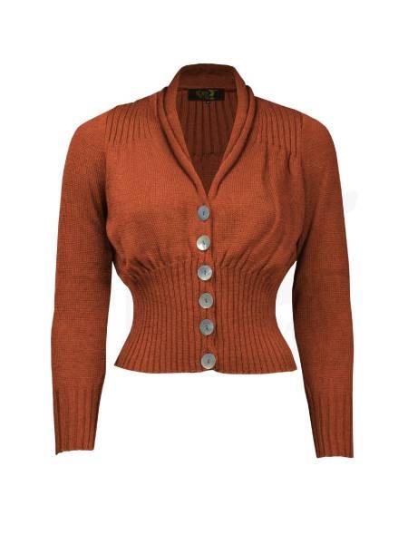 House of Foxy 1950s Shawl Collar Cardigan Rust rotbraun