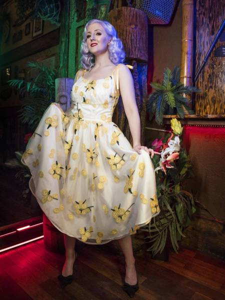 Katakomb Kleid Jeri Dress weiß gelb Blumen