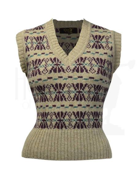 House of Foxy Pullunder Fair Isle Tank Top Mulberry Mix