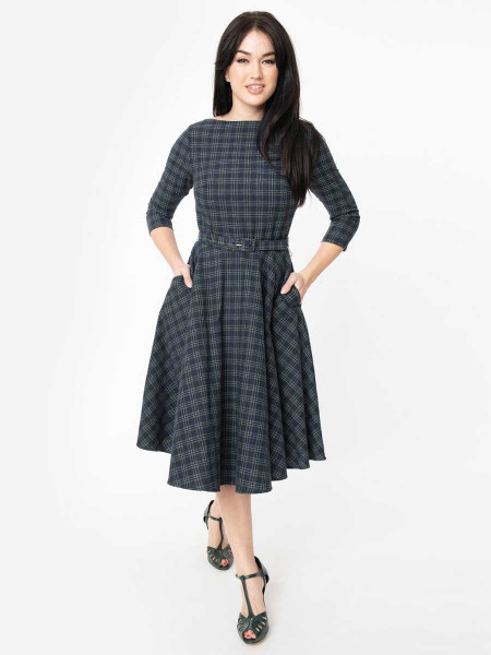 Unique Vintage Kleid Devon Navy and Green Plaid
