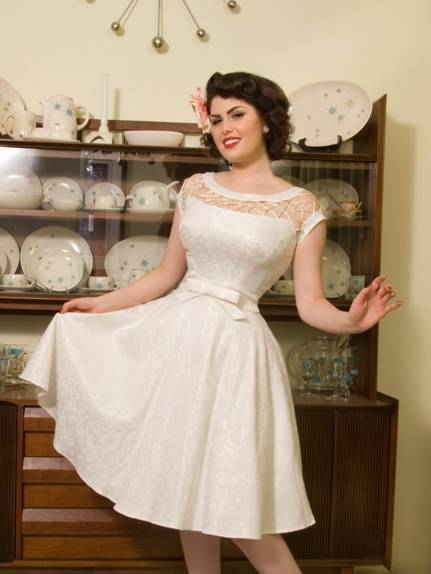 Tatyana 50s Kleid Alika Circle Off White creme gold