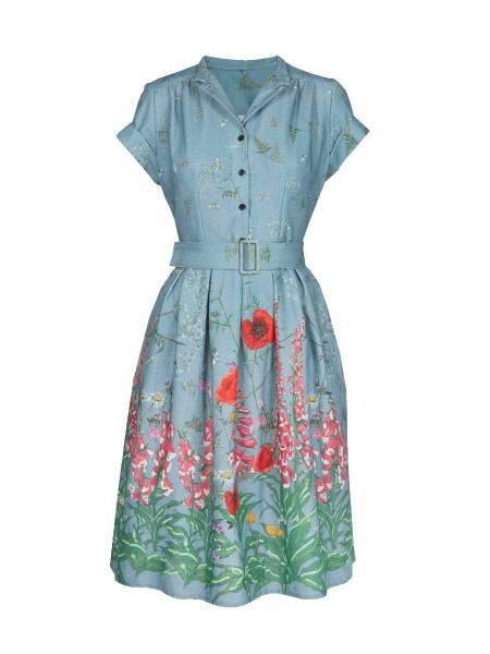 Palava Kleid Louise Teal Wildflower Dress